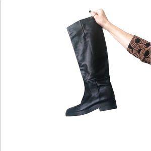New ZARA Tall Black Leather Boots Sz 37 EU / 6.5 US